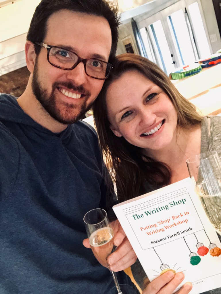 Me, my husband, my book, and champagne.